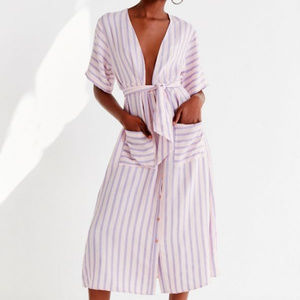UO x Love + Harmony Button-Down Striped Midi Dress